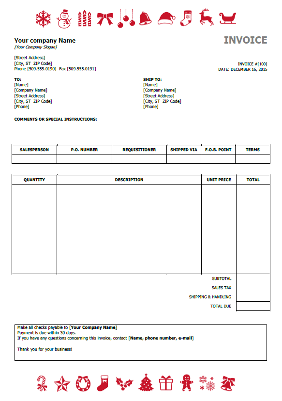 Christmas invoice template preview