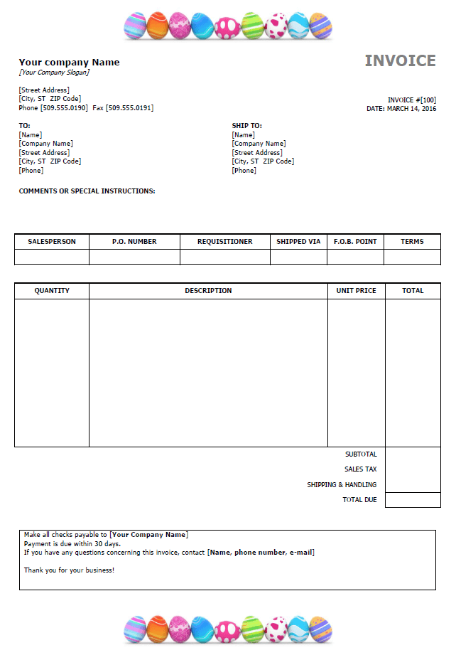 Easter invoice template preview