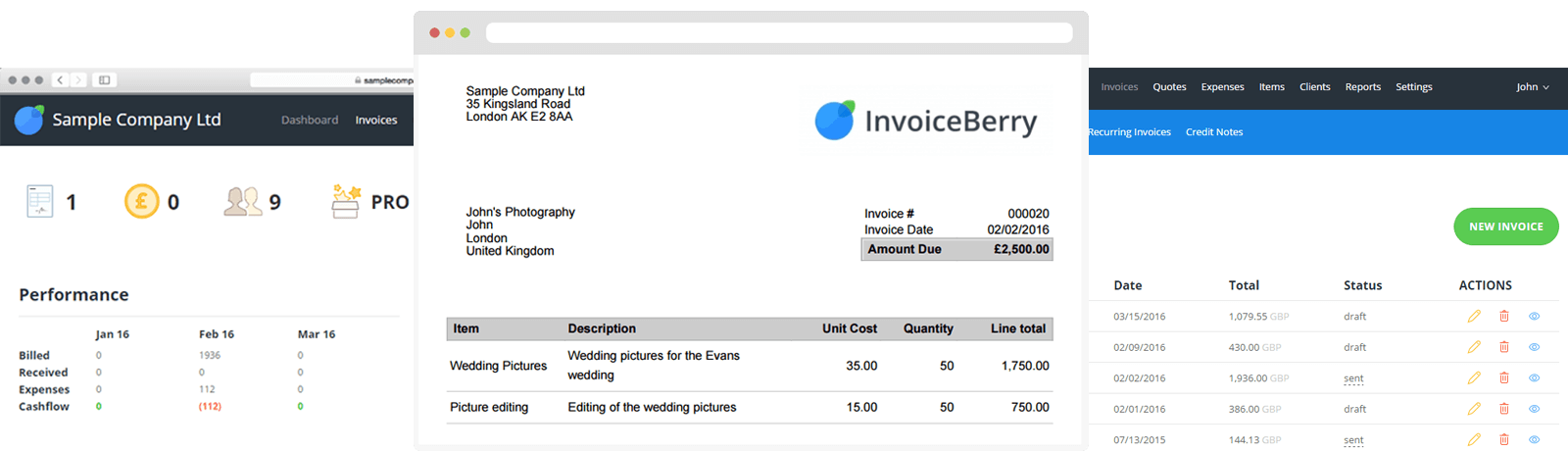 InvoiceBerry Dashboard  Make Invoice Online