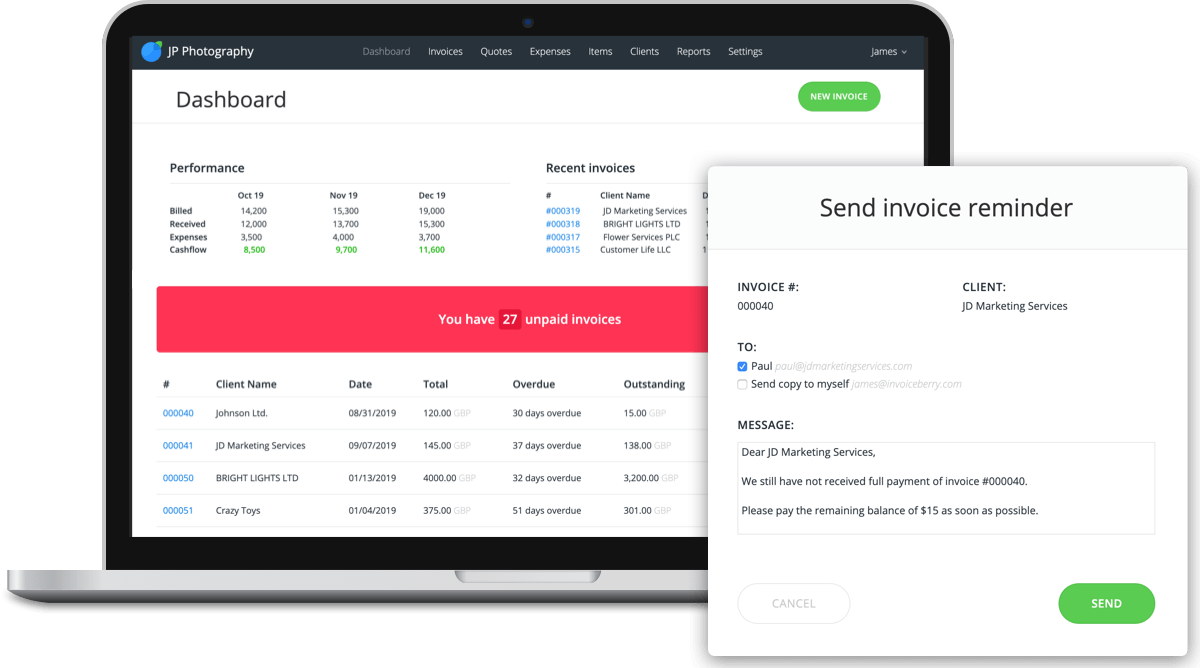 Keep track of payments with InvoiceBerry