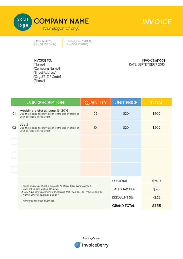 Color Stationary  Invoice Template Pdf Free Download