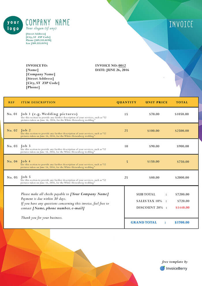 DOWNLOAD NOW. Polygons  Invoice Template Pdf Free Download