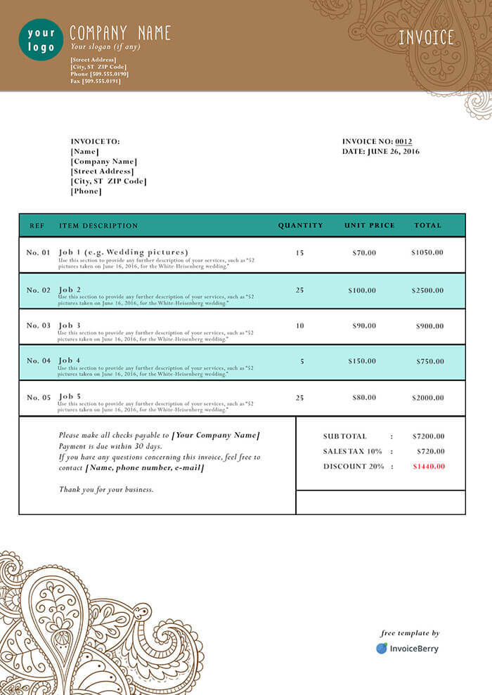 Free Photoshop Invoice Templates Invoiceberry