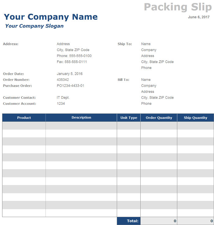 Free Packing Slip Template. Packing-List-Template Export Documents