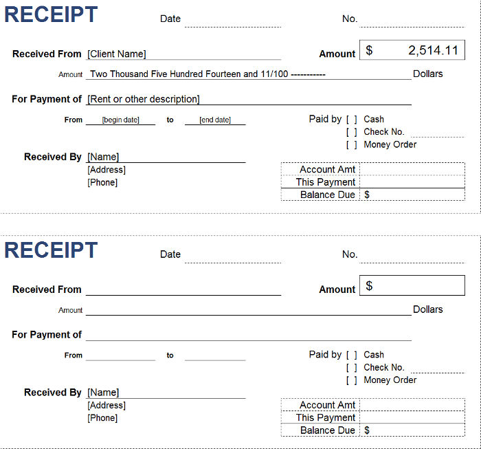 Free Petty Cash Receipt Templates – Cash Receipt Sample