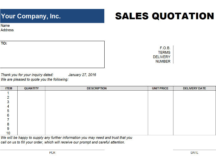 Free Price Quote Templates  Invoiceberry