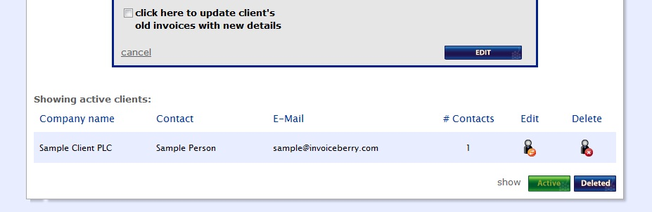 Click here to update client's old invoices with new details!