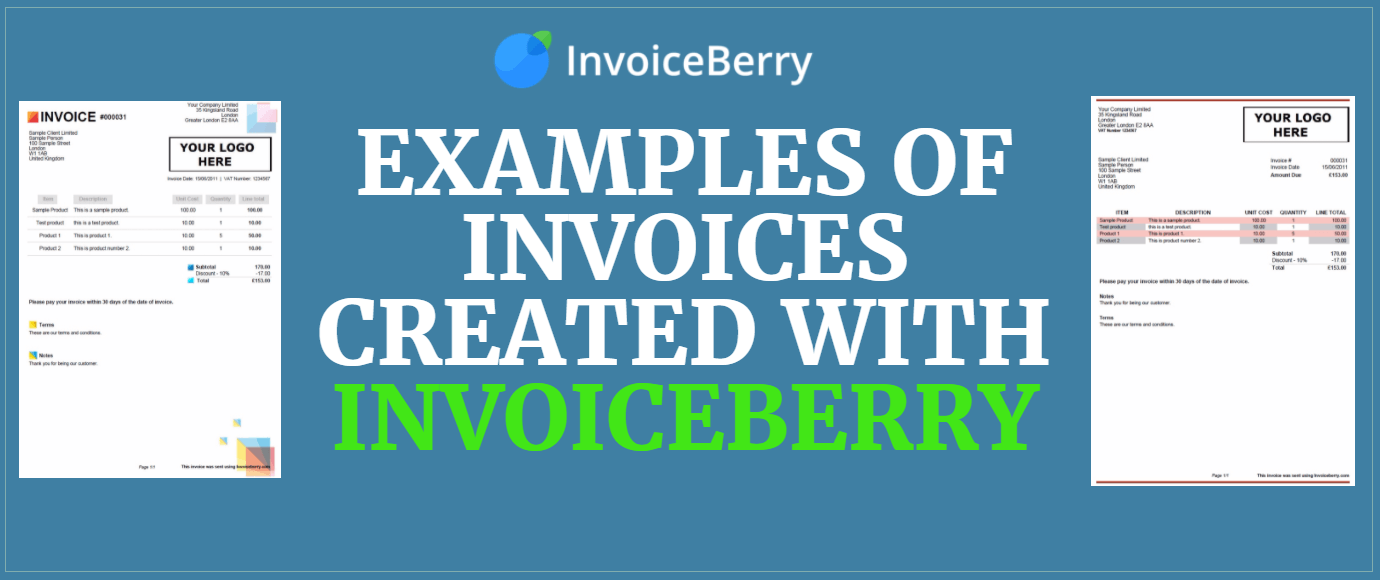 Check out these examples of invoices created with InvoiceBerry