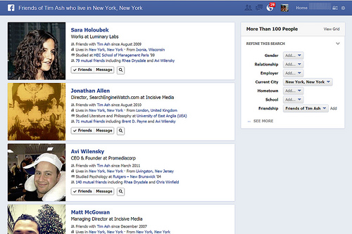 This is an example of a search result based on all friends living in New York