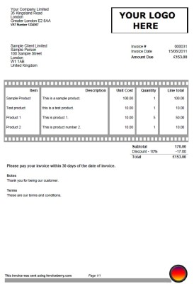 Invoice template for photographers and film makers