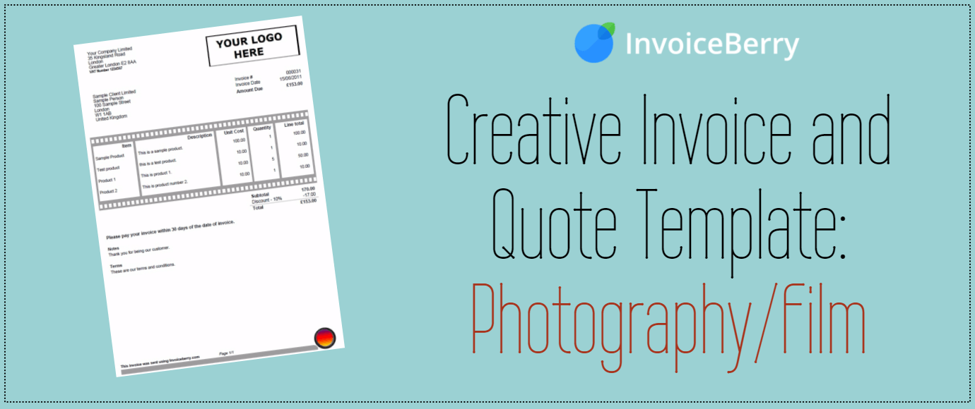 creative invoice and quote template  photography    film
