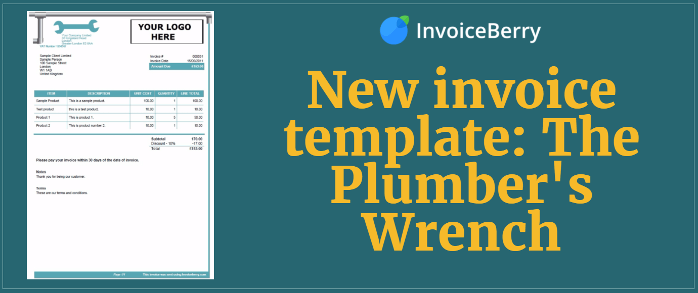 Check out our all new Plumber's Wrench invoice template to help your plumbing business