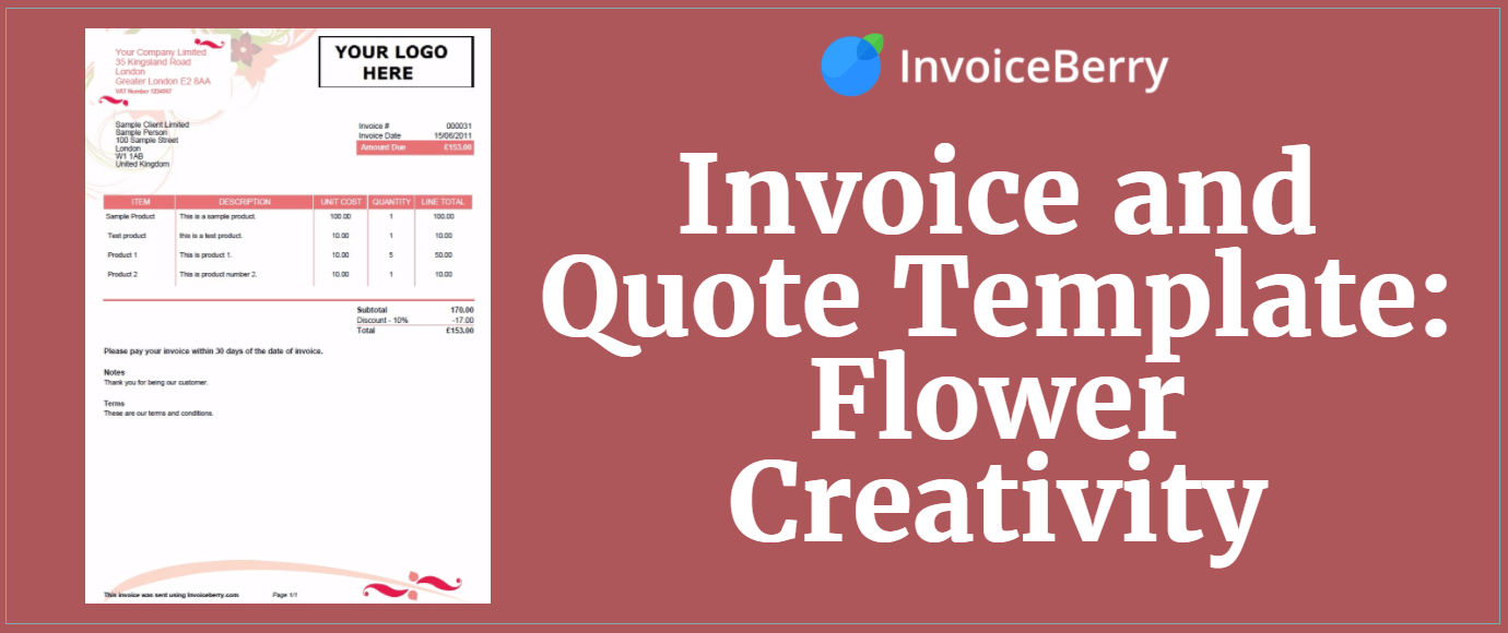 Invoice And Quote Template Flower Creativity InvoiceBerry Blog - Flower shop invoice template