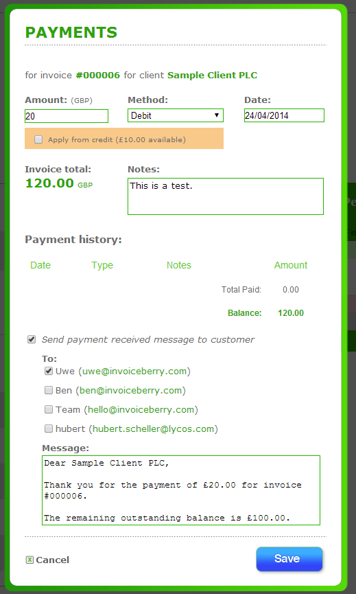 Add Payment: Let your customer know that you received the payment