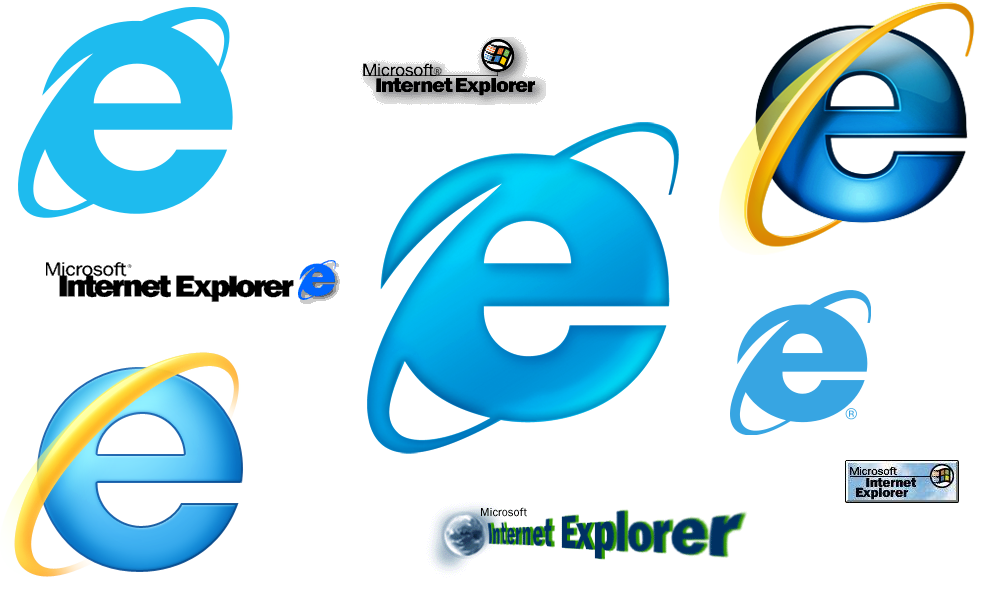Internet Explorer logos over the years