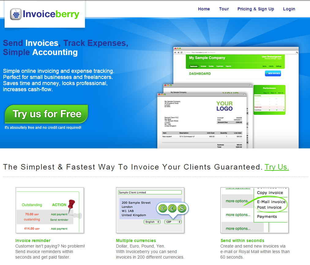 Second website of our online invoicing software InvoiceBerry