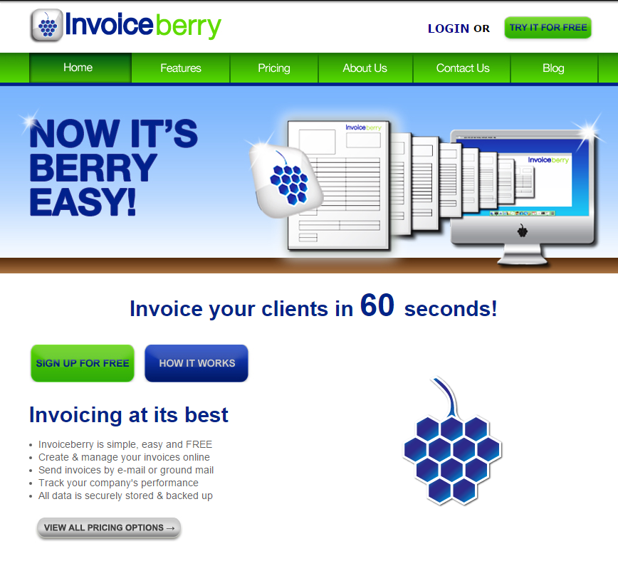 First website of our online invoicing software InvoiceBerry