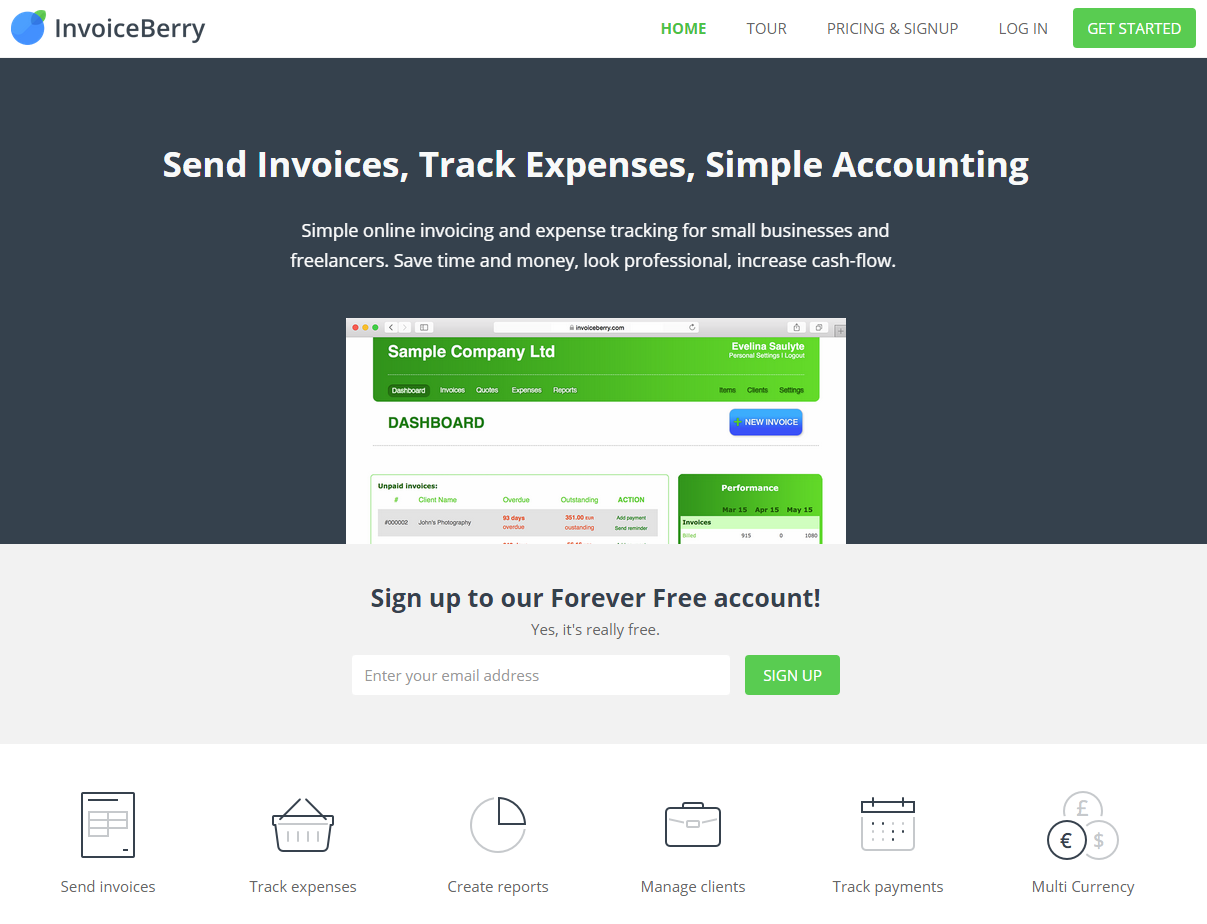 Third and current website of our online invoicing software InvoiceBerry