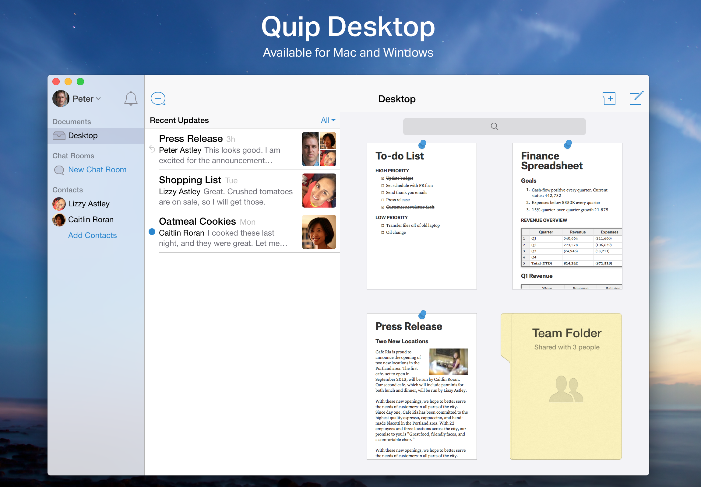 Quip software for working from home