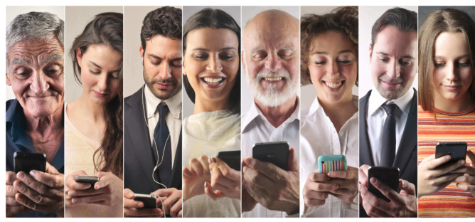 People of different age using various smartphones