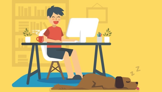 Happy freelancer is working on a home-based small business
