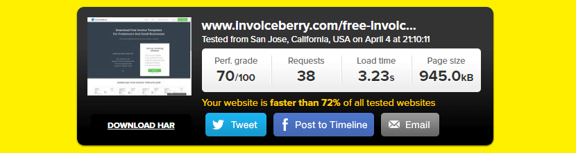 InvoiceBerry's Pingdom speed test results before adjustments.