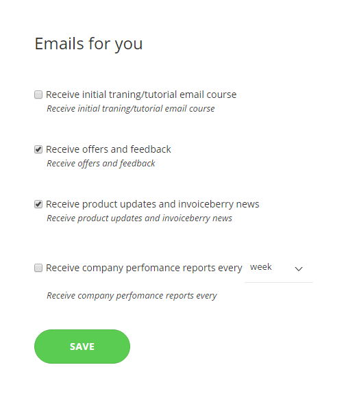 Email settings to activate weekly/monthly/quarterly company reporting