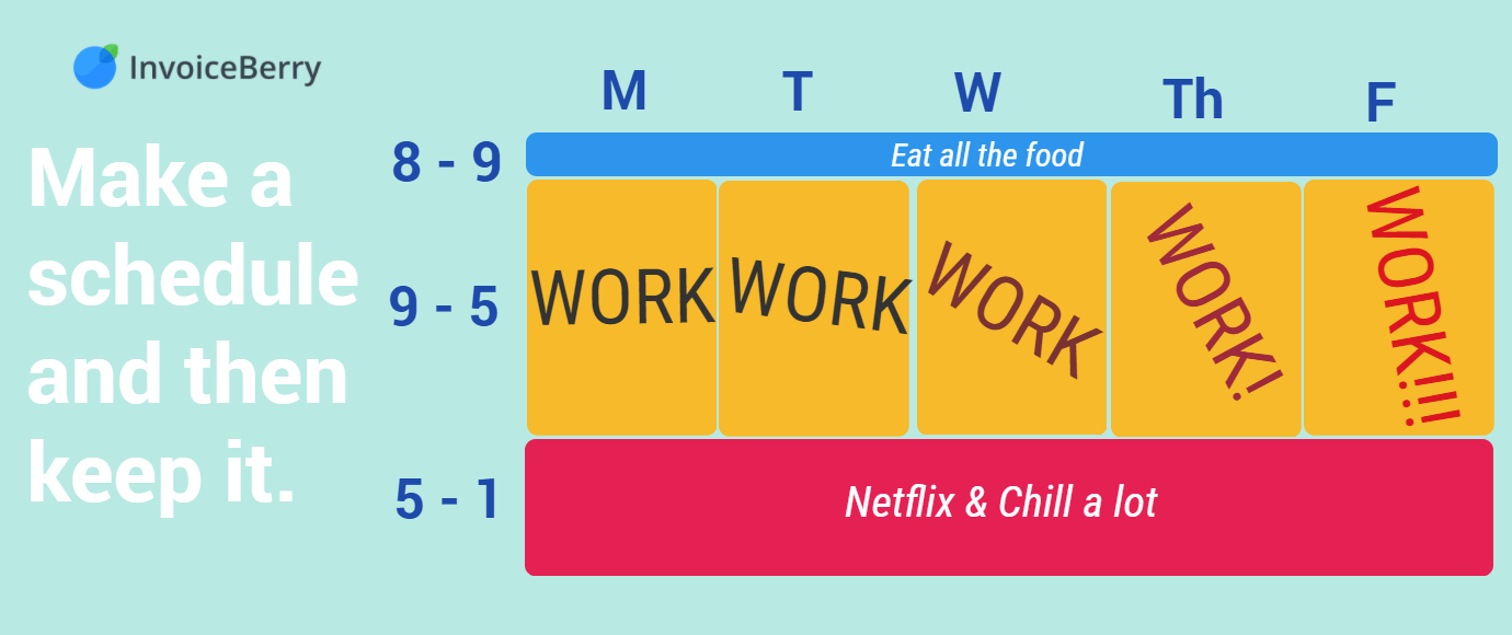 Remember to set a schedule for your work and life