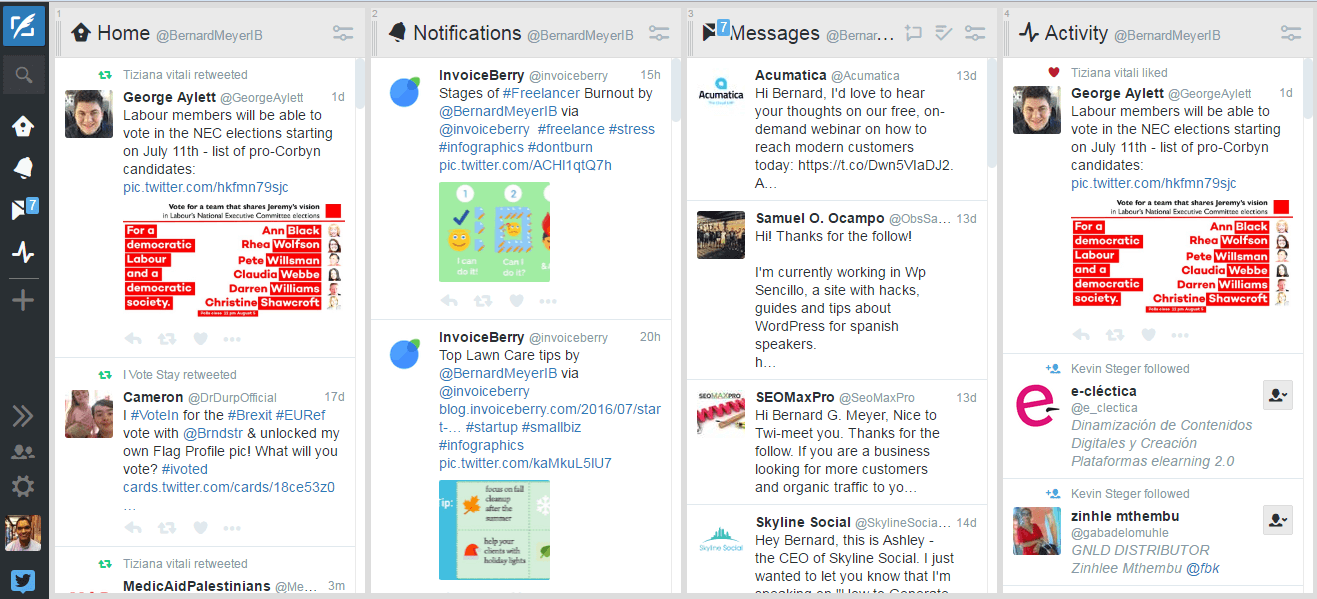 A screenshot of Tweet Deck dashboard