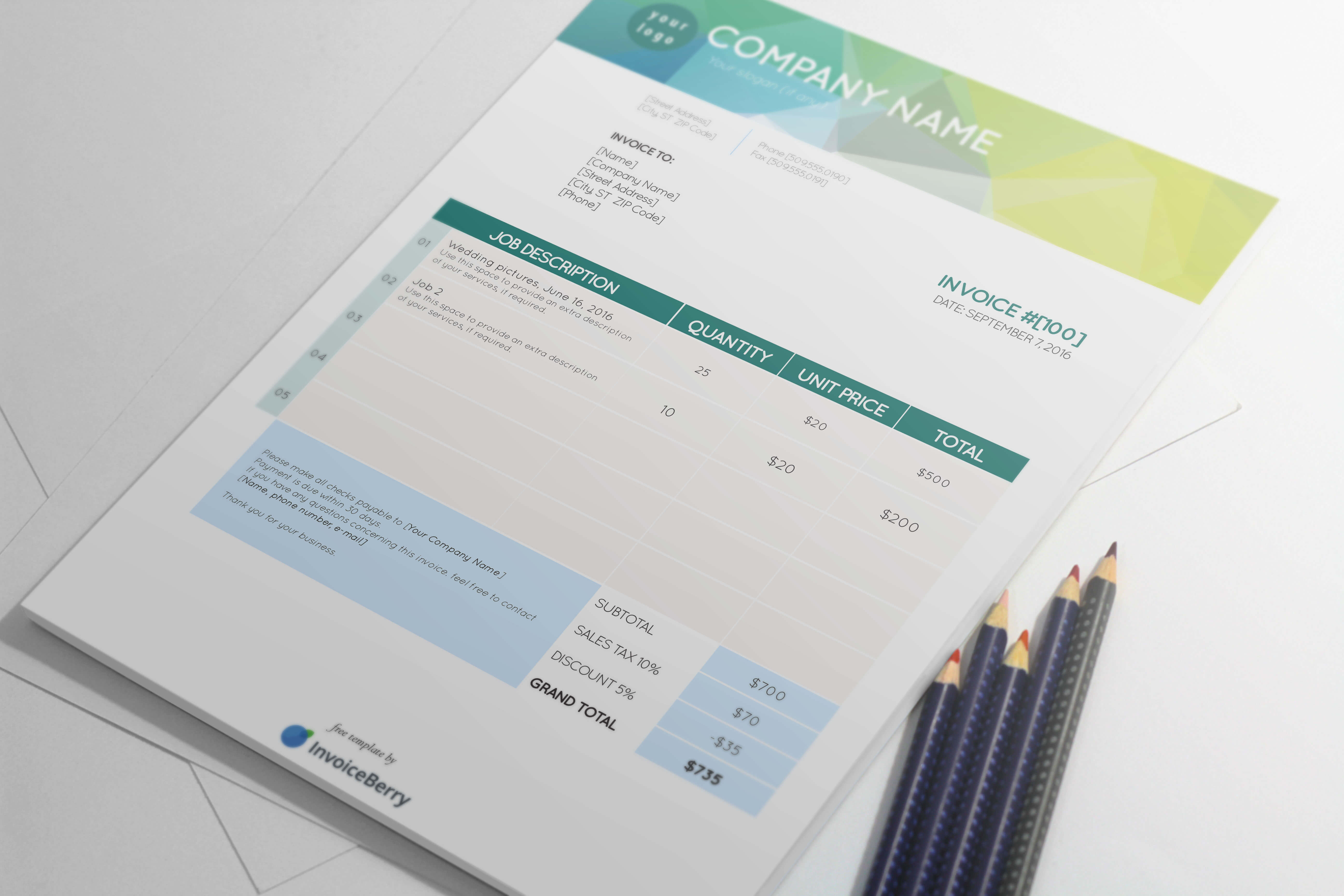 Our Lime on Ice free InDesign invoice template will present your clients with a cool, calm, and modern image that has a professional yet refined personality