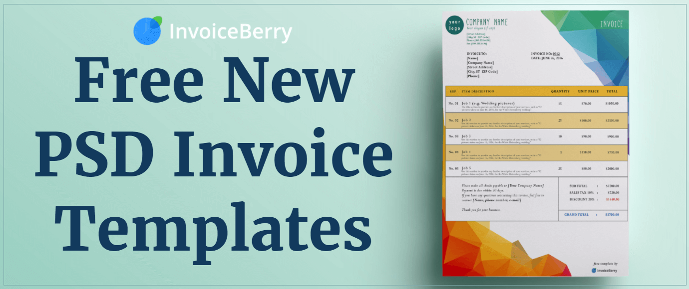 Check out our all new, free PSD invoice templates