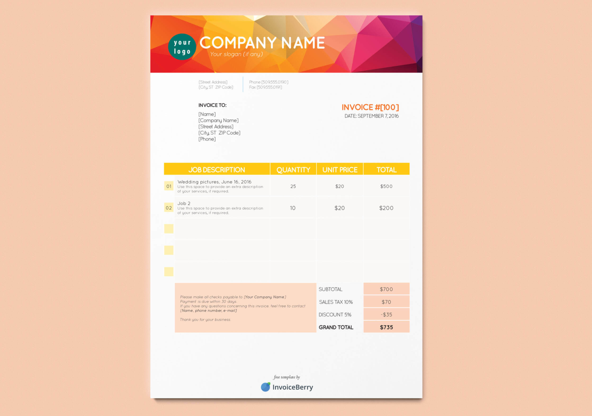 Our bright and bold Orange & Yellow free InDesign invoice template will definitely boost your personality and professionalism
