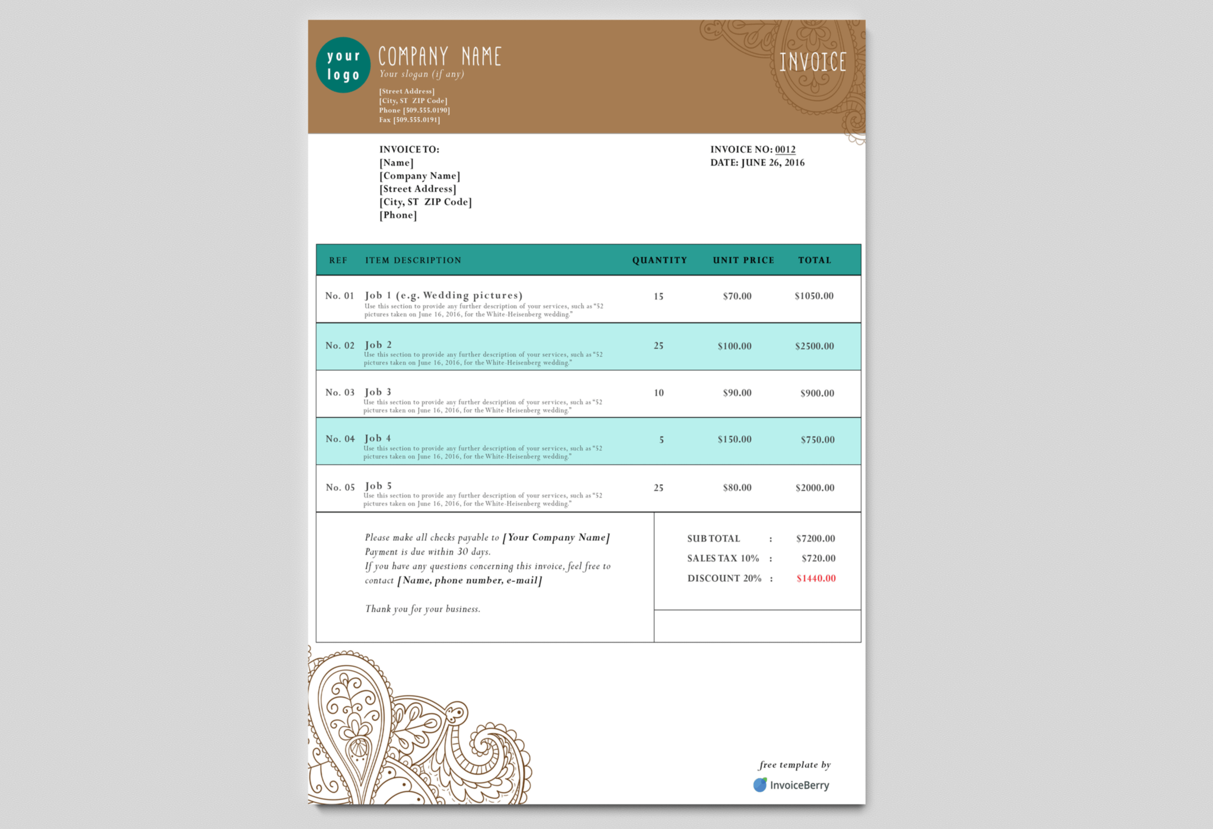 our new paisley tattoo free psd invoice template has a great earthy but professional look