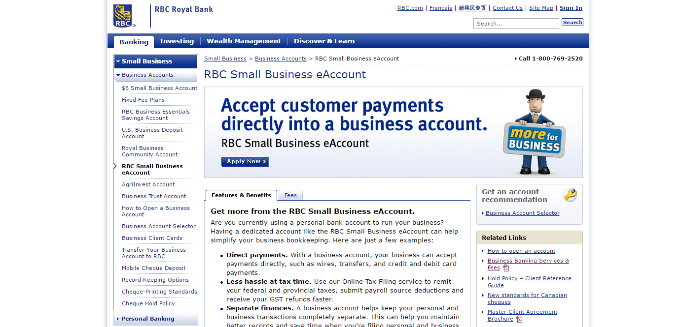 The Royal Bank of Canada's Small Business eAccount has many great pay-as-you-go options