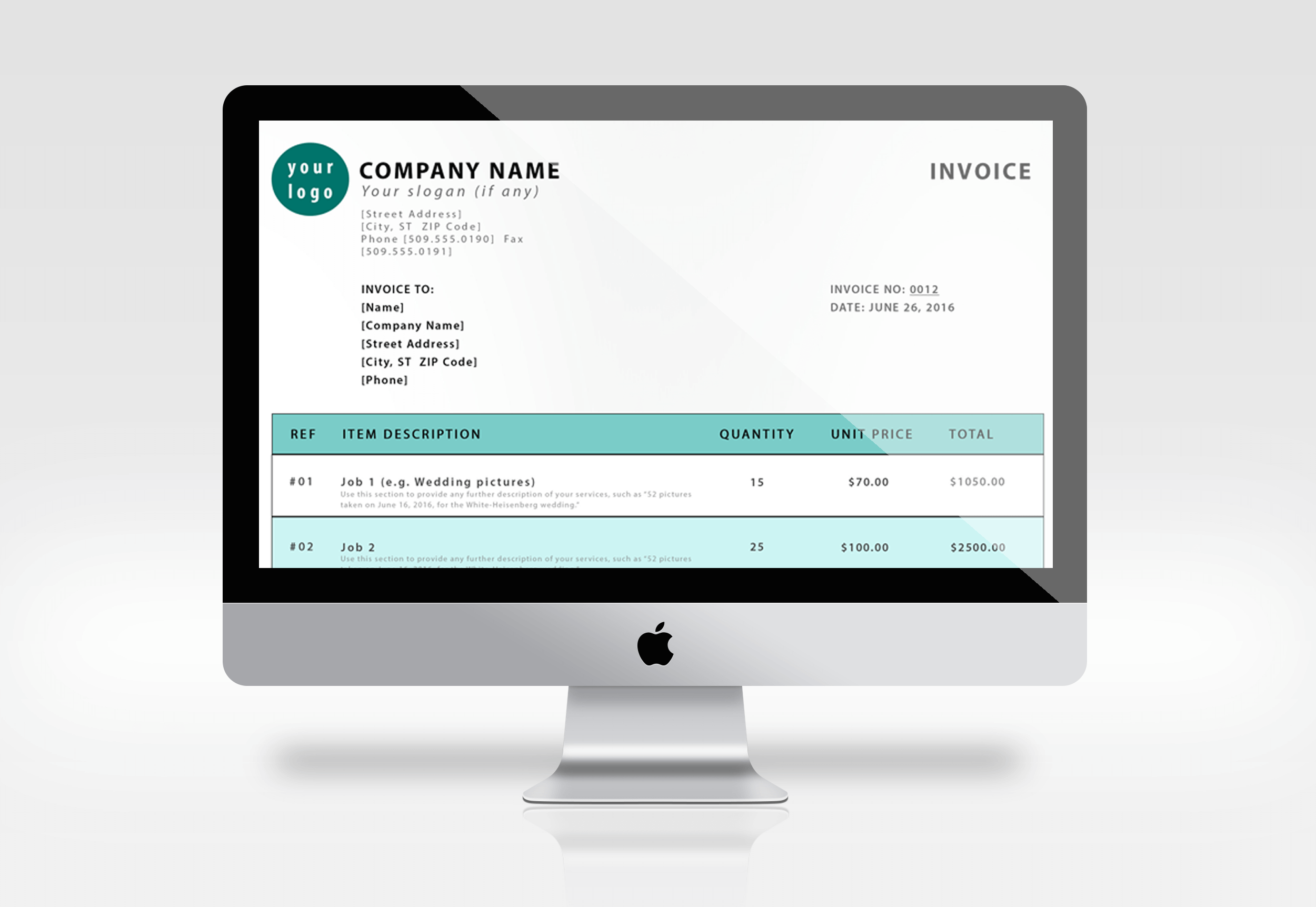 You can use our Sphere Tech free PSD invoice template on your laptop, tablet or computer