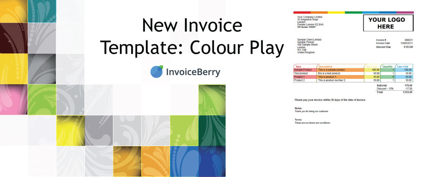 We're happy to offer a new invoice template: Colour Play