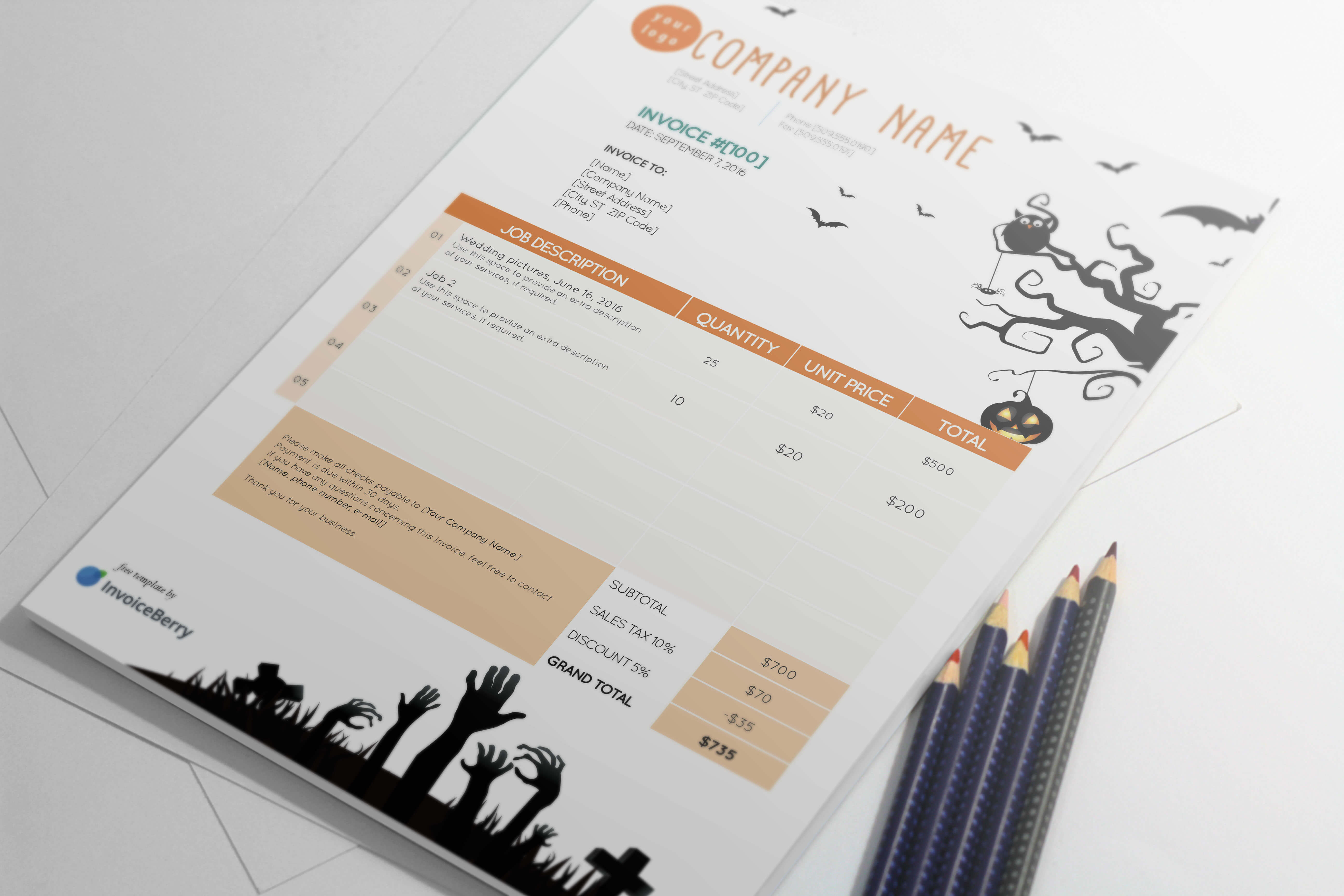 Lighten up your Halloween festivities with the fun and scary The Hills Are Alive Halloween invoice template