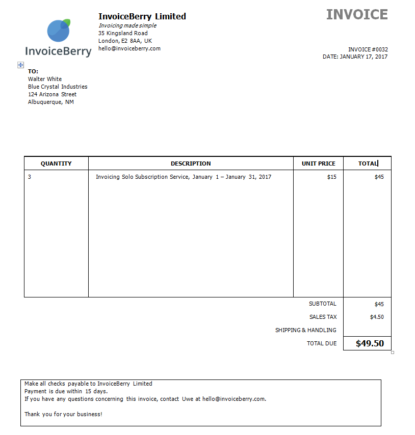This Is How Your Completed Invoice Will Look With Microsoft Word  How Make Invoice