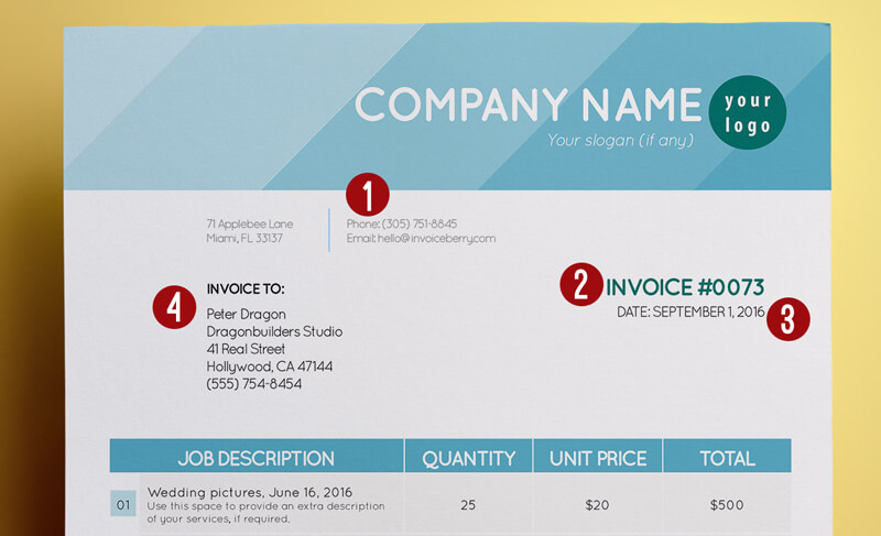These are the first four sections of an invoice