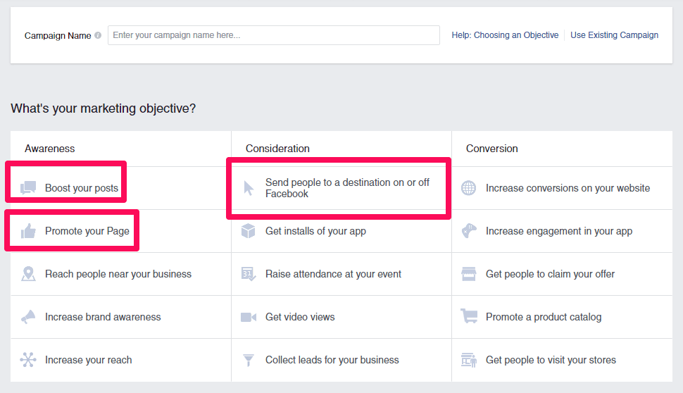 When you create your Facebook ad, you will need to set an objective for your campaign
