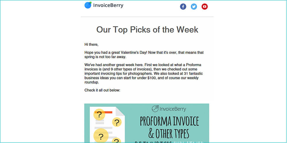 An example of the weekly newsletter we send to our InvoiceBerry Blog subscribers