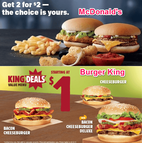 Competitive pricing is very common, such as with McDonald's and Burger King's respective value menus