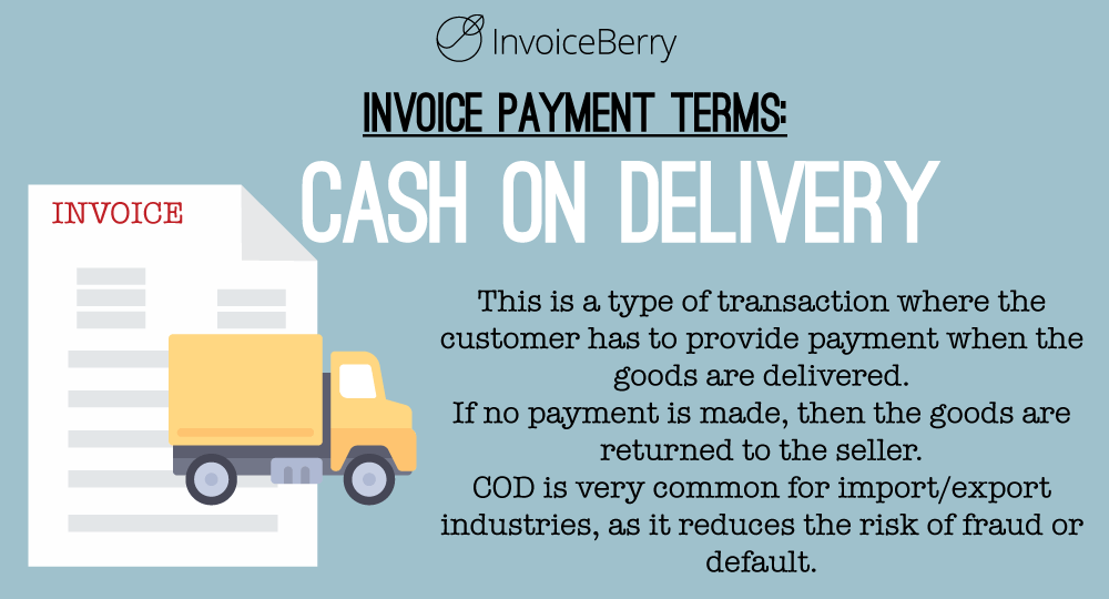Cash on delivery (COD) allows the customer to pay the invoice after receiving the goods