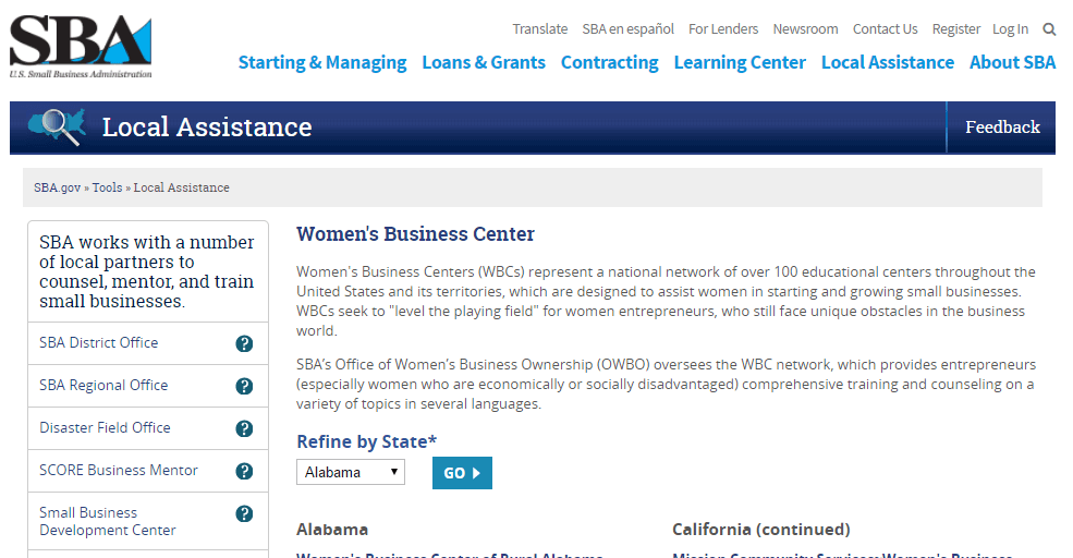 The US SBA has great resources for women entrepreneurs