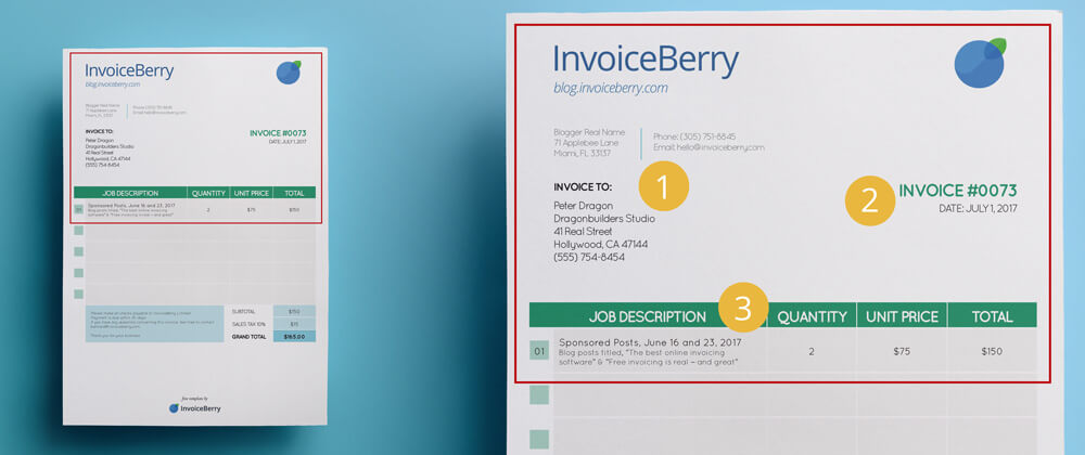 These are the first three sections you need to have on your sponsored posts invoice