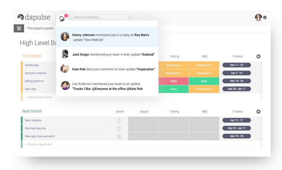 Dapulse is a simple solution to boost team productivity.