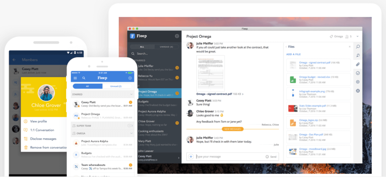 Fleep is a great tool for teams to help increase productivity.