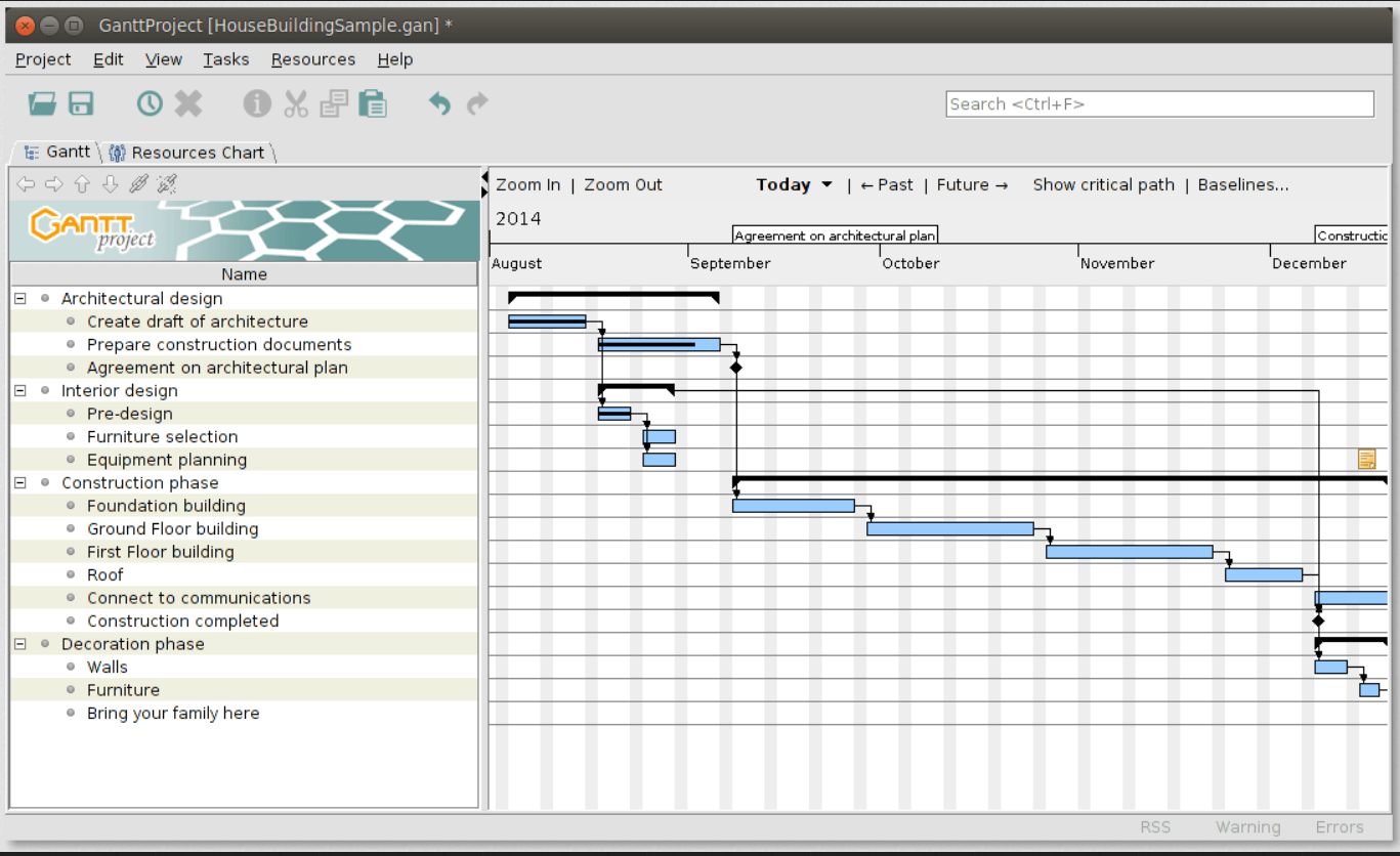 Gnatt Project is a free software used for developing schedules.