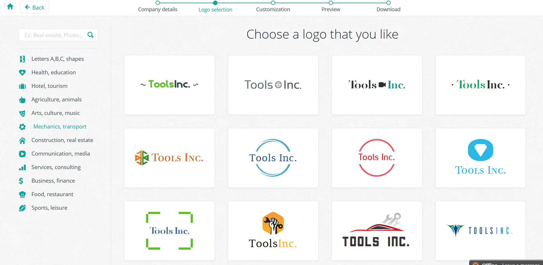 Logo Genie easy to use logo creation web based tool.