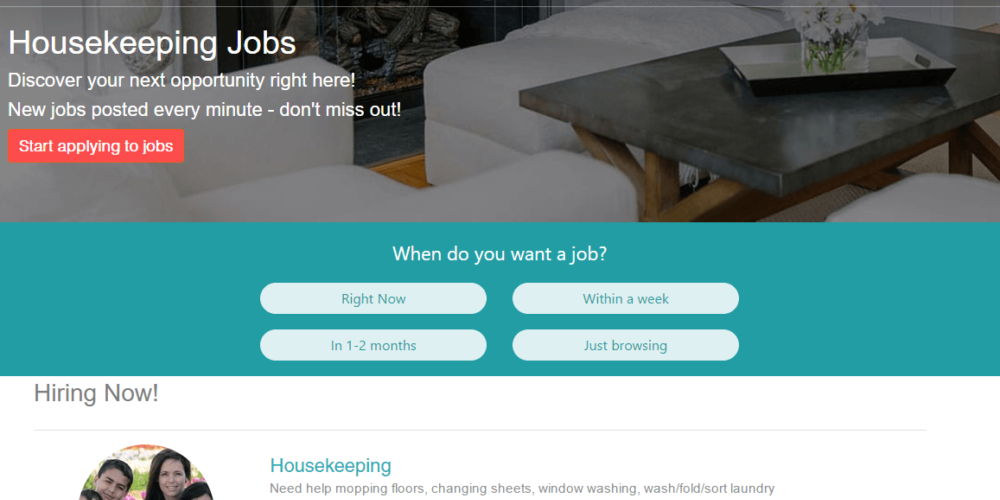 Care.com lists cleaning jobs in the US for great hourly rates